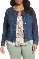 Sejour Plus Size Women's Collarless Trucker Jacket