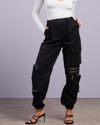 Missguided Women's Black Pants - Cargo 3D Pockets Trousers - Size 6 at The Iconic