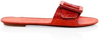 Definery Loop Croc-Embossed Leather Flat Sandals