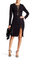 Wow Couture Faux Suede Lace-Up Dress
