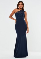 Missguided Navy Lace One Shoulder Fishtail Maxi Bridesmaid Dress