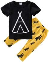 Magical Baby Baby Boys Short Sleeve Graphic T-shirt and Animal Print Pants Outfit