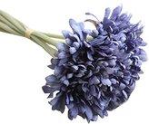 Transer Artificial Silk Fake Flowers Chrysanthemu Wedding Bouquet Bridal Decor (Blue)