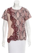 Stella McCartney Silk-Trimmed Snakeskin Print T-Shirt