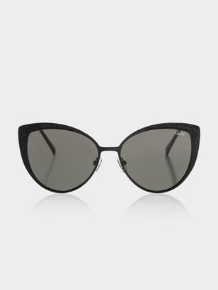 Quay Sweet Darlin Cat Eye Sunglasses in Black Smoke