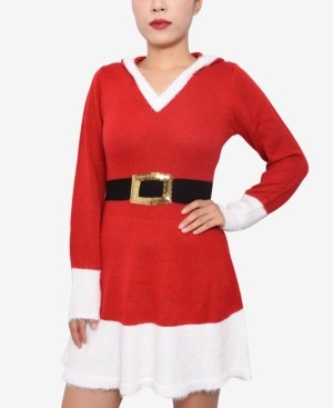 Derek Heart Juniors' Hooded Santa Sweater Dress