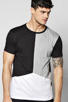 Boohoo Long Line Step Hem Nepp Splice T-shirt