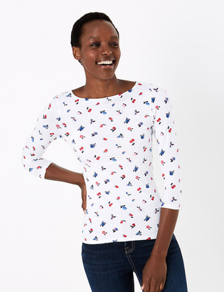 Marks and Spencer Cotton Fruit Print Slash Neck Fitted Top