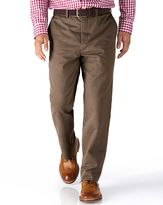 Charles Tyrwhitt Light Brown Classic Fit Flat Front Cotton Chino Trousers Size W42 L30