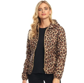 Only Womens Demi Hooded All Over Print Jacket Tannin