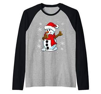 Funny Christmas Dabbing Snowman Santa Dab Boy Girl Cute Gift Raglan Baseball Tee
