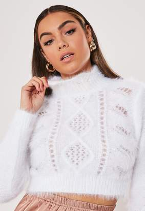 Missguided White Fluffy High Neck Cropped Jumper