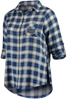Unbranded Women's Plus Size Concepts Sport Royal/Black Florida Gators Forge Rayon Flannel Long Sleeve Button-Up Shirt