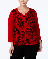 Alfred Dunner Plus Size Wrap It Up Collection Flocked Split-Neck Sweater