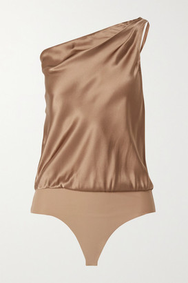 CAMI NYC The Darby One-shoulder Silk-charmeuse And Stretch-jersey Thong Bodysuit - Light brown