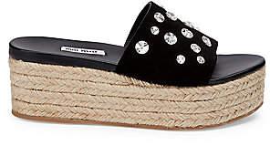 Miu Miu Women's Summer Plexi Jeweled Suede Espadrille Slides Sandals