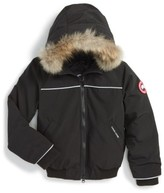 Canada Goose Toddler 'Grizzly' Down Hooded Bomber Jacket With Genuine Coyote Fur Trim