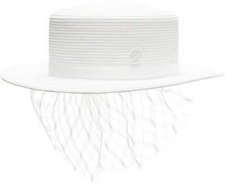 Maison Michel Kiki Straw Boater Hat - Womens - White