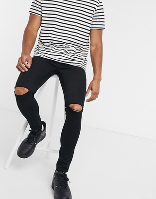 Topman spray on jeans with rips in black
