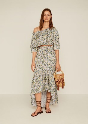 MANGO Floral ruffled dress off white - 2 - Women