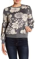 Bobeau Floral Printed Bubble Sleeve Sweater (Petite)