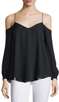 Haute Hippie Silk Long-Sleeve Cold-Shoulder Top, Black
