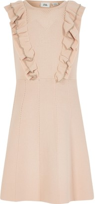 River Island Girls Pink beaded pointelle frill dress