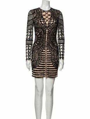 Jovani Lace Pattern Mini Dress Black