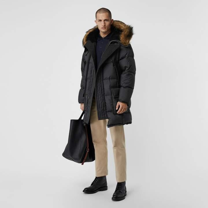 Burberry Faux Fur Trim Down-filled Hooded Parka , Size: 48, Black