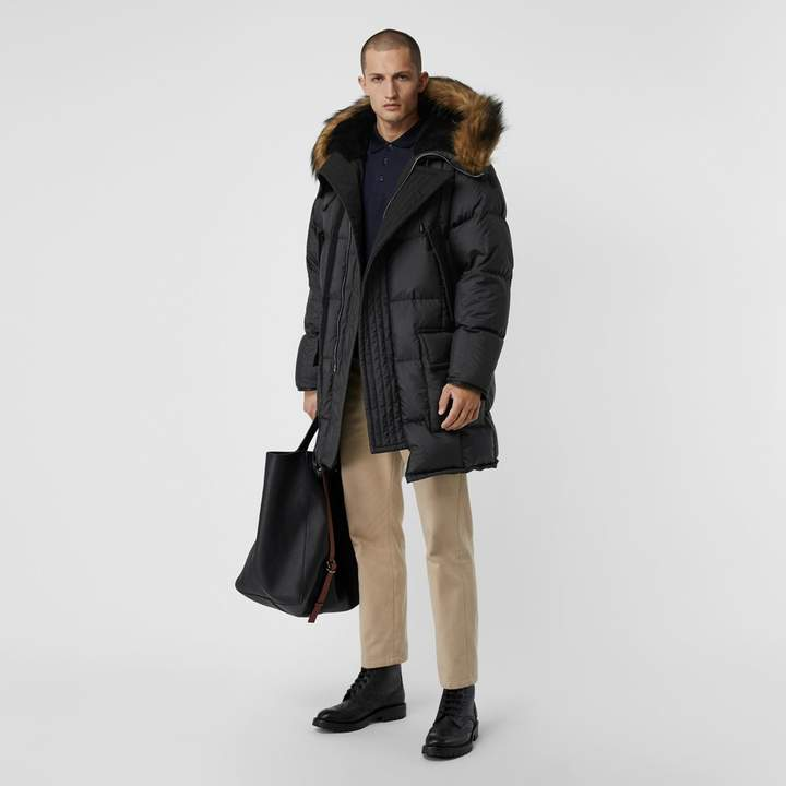 Burberry Faux Fur Trim Down-filled Hooded Parka