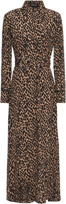 Markus Lupfer Amanda Belted Leopard-print Crepe Maxi Shirt Dress