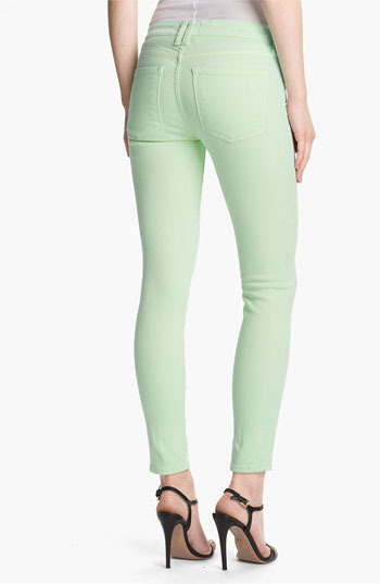 Vince Colored Skinny Stretch Ankle Jeans (Light Mint)