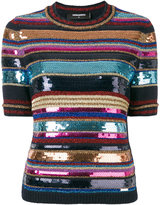DSQUARED2 sequin stripe pattern top - women - Polyamide/Polyester/Viscose/Wool - S