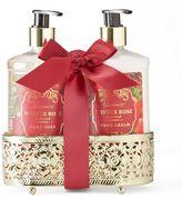 Lila Grace Winter Rose Hand Soap & Hand Cream Caddy Gift Set