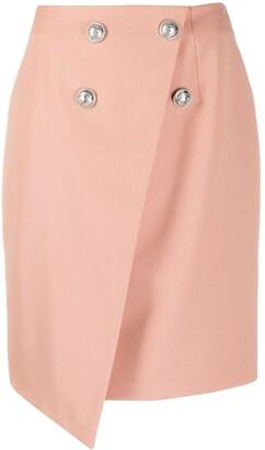 Balmain Stud-Embellished Asymmetric Skirt