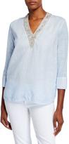 120% Lino V-Neck Embellished Collar Jersey Mix Top
