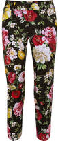 Dolce & Gabbana Floral-print Stretch-cotton Straight-leg Pants - Black