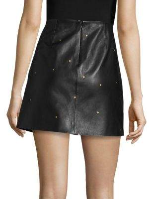 L'Agence Zippered Leather Star Skirt