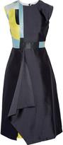 Raoul Raine color-block wool and silk-blend satin mini dress