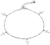 Silvertone Cross Charm Anklet