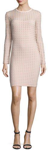 Alexander Wang Long-Sleeve Jacquard Eyelet Mini Dress