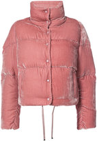 Moncler cropped velvet puffer jacket - women - Silk/Viscose/Goose Down/Polyimide - 1