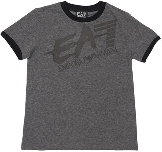 EA7 Emporio Armani Logo Print Cotton Jersey T-shirt