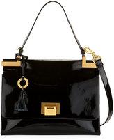 Badgley Mischka Bobbie Patent Leather Top-Handle Satchel Bag, Black