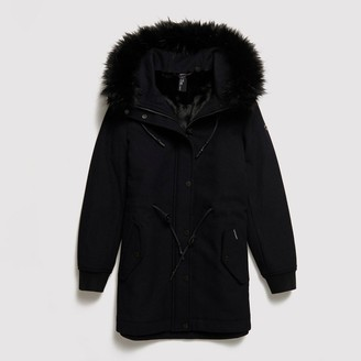 Superdry Wool Mix Mid-Length Parka with Faux Fur Hood and Pockets