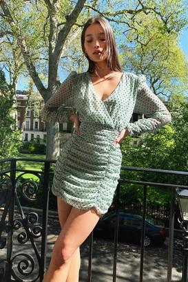 Nasty Gal Womens Quit Ruchin' Spotty Mini Dress - Black - S, Black