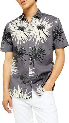 Topman Slim Fit Chrysanthemum Print Short Sleeve Button-Up Shirt