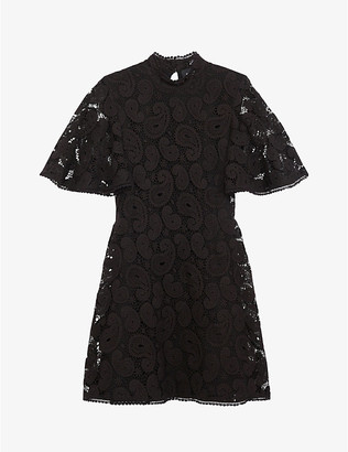 The Kooples Frill-detail paisley lace mini dress