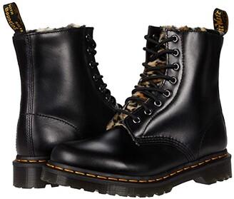 Dr. Martens 1460 Serena Leopard Faux Fur (Dark Grey/Tan/Black Atlas/Leopard Faux Fur) Women's Shoes