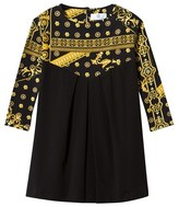 Young Versace Black and Gold Majolica Print Jersey Dress